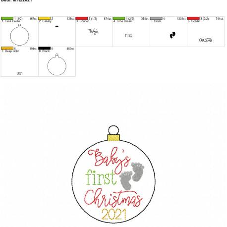 Baby's first christmas ornament 2021 4×4
