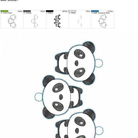 Kawaii Panda eyelet 5×7 grouped