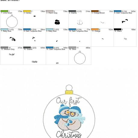 Our First Christmas 2021 Snowman ornament 4×4