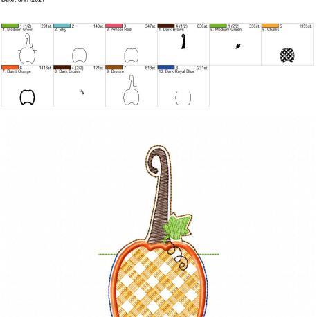 Plaid pumpkin applique sanitizer holder snaptab 5×7