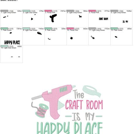 craft room is my happy place 8×12