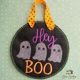Hey Boo Sketch Door Sign – 3 sizes – Digital Embroidery Design