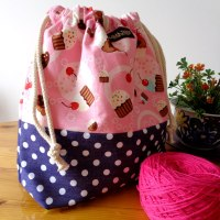 Drawstring Wristlet Knitting Project Bag - Cupcakes Polkadots - Crafts Bag