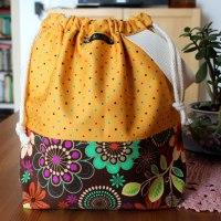 Drawstring Knitting Project Bag - Floral Polka