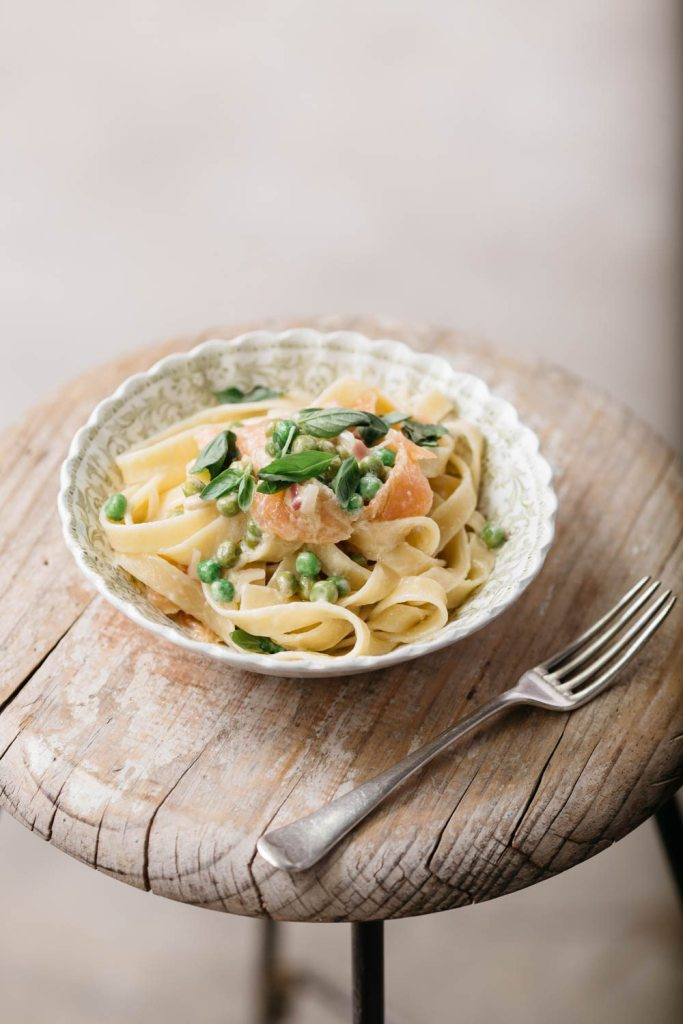 Fettuccine with Salmon, Mascarpone, Lemon and Peas