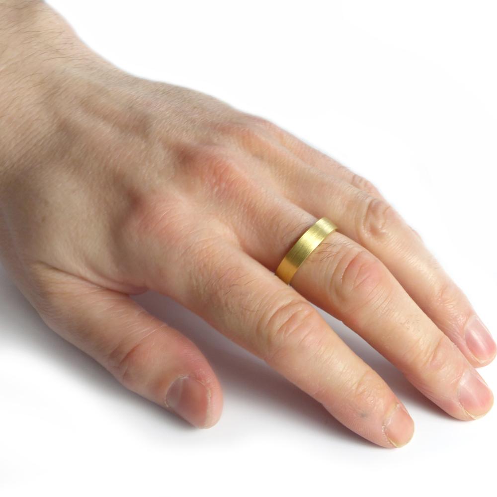 5mm Flat Wedding Ring In 18ct Yellow Gold Lilia Nash