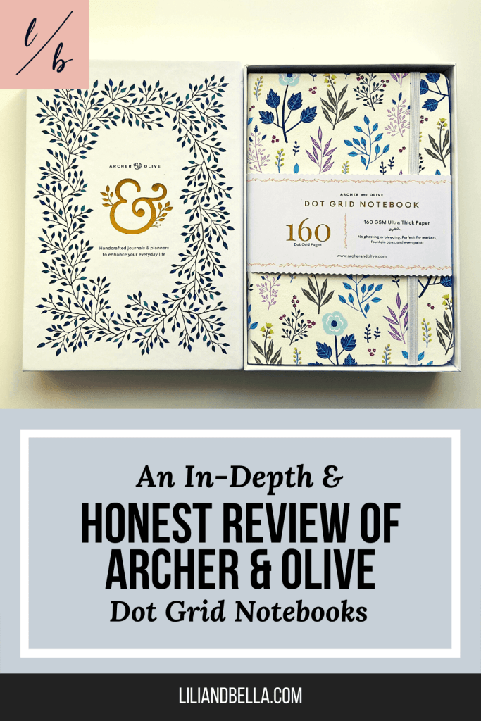 Archer & Olive dot grid flower notebook in a box