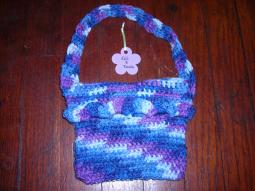 Girls Blue and Purple Multi Crochet Purse