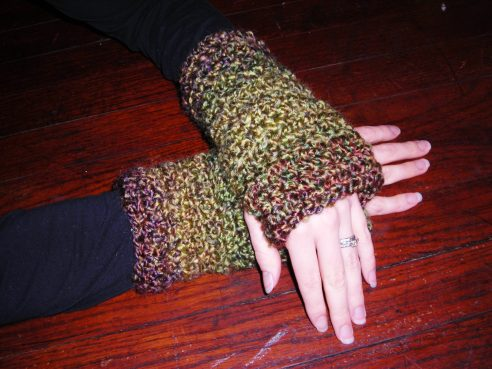 Ladies Green and Red Crochet Fingerless Gloves