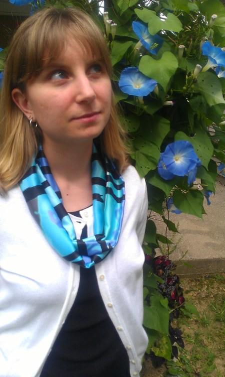 Blue, Green, and Black Abstract Print Infinity Scarf
