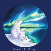 christmas cards illustrated original hand drawn lilian leahy polar bears northpole northern lights netherlands ecoline