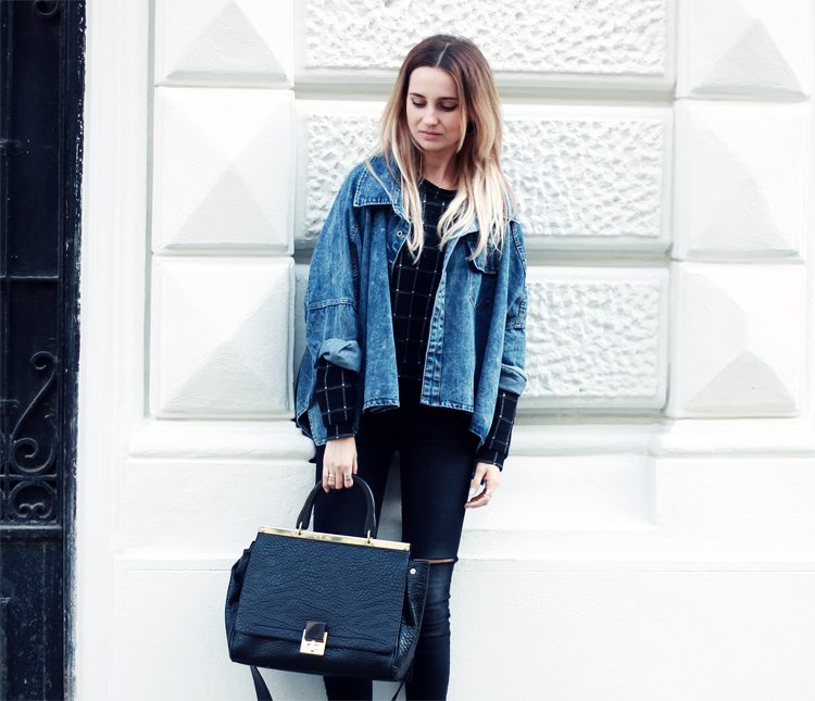 sheinside denim jacket stradivarius black pants blonde blogger lilis vienna street syle city fashion parfios black bag casual minimalistic style photoblog blogger 4