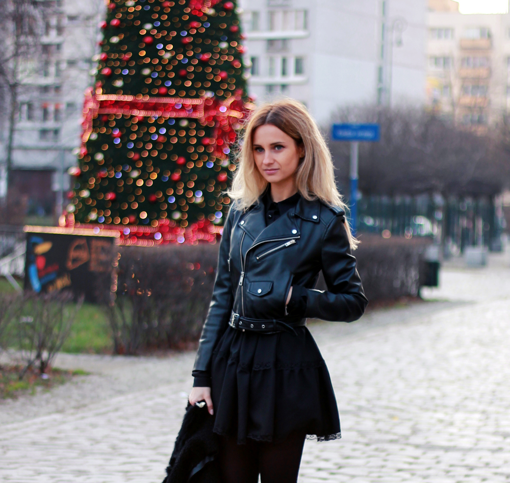 black dress zara leather jacket blonde tumblr girl look lookbook