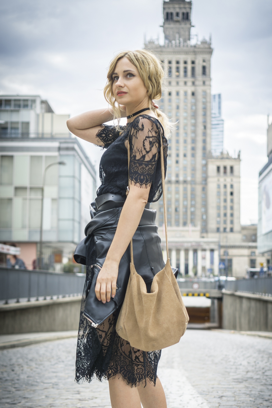 black lace dress casual chic street style fashion blonde tumblr girl look it girl lookbook ootd zara bag 2