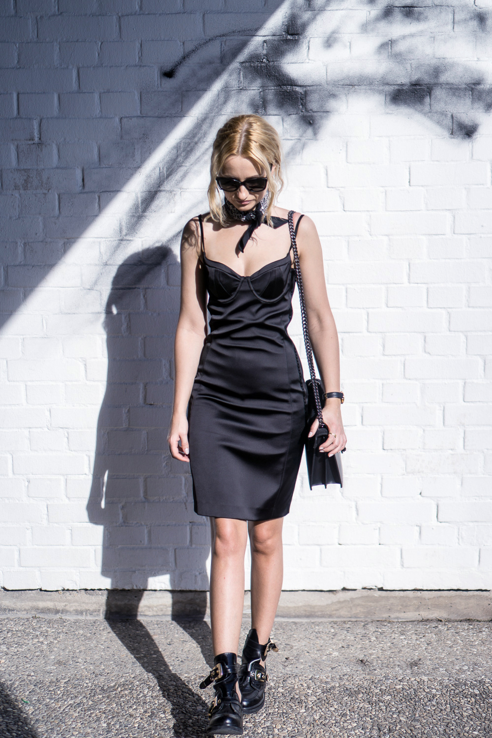 Street style outfit. Lingerie pencil dress in casual set. Fashion inspiration.