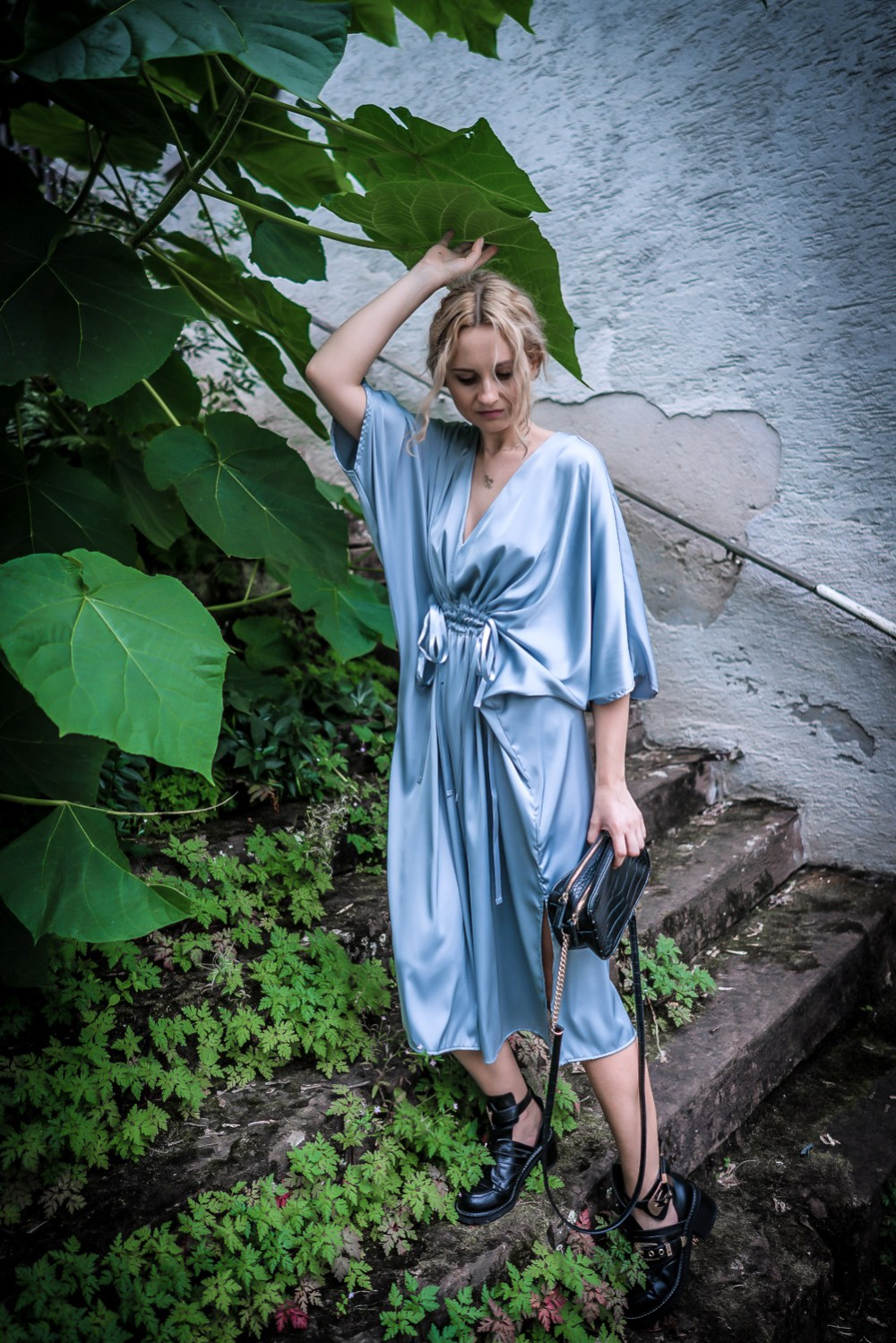 hm silver silk midi dress romantic girl street style look ootd outfit secret place vogue ootd