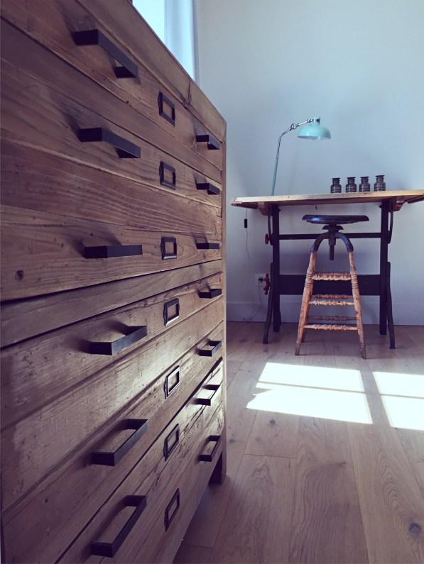 commode bois bureau bois vintage