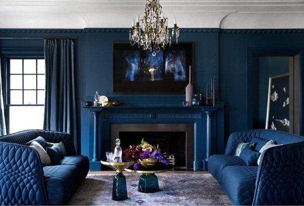 salon cheminée mur bleu foncé lili deambule