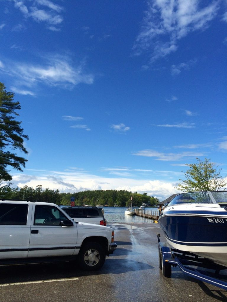 After taking the boat out of the lake, the skies cleared up.