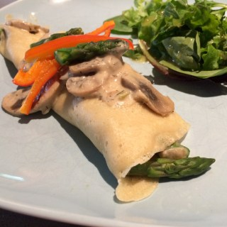 Vegan Asparagus and Mushroom Cream Filled Crepes