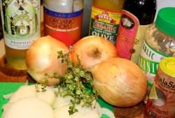 Vegan French Onion Soup Mise en Place