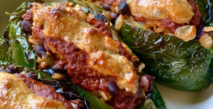 Vegan Stuffed and Roasted Poblano Peppers