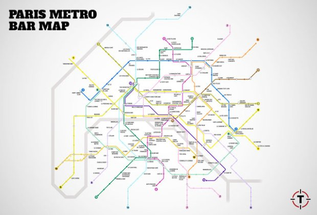Paris metro bar map