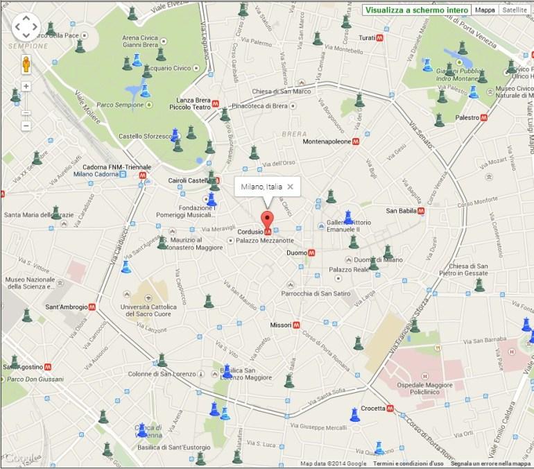 Mappa fontanelle pubbliche Milano