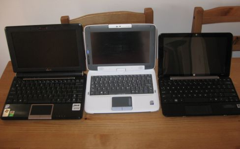 Left to right: Asus Eee PC 1000H, CTL 2Go PC, HP Mini 1000