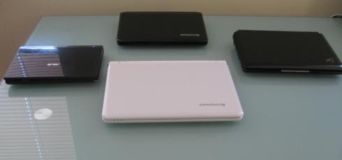 Clockwise from left: Eee PC T91, IdeaPad S10-2, Eee PC 1000H, IdeaPad S12