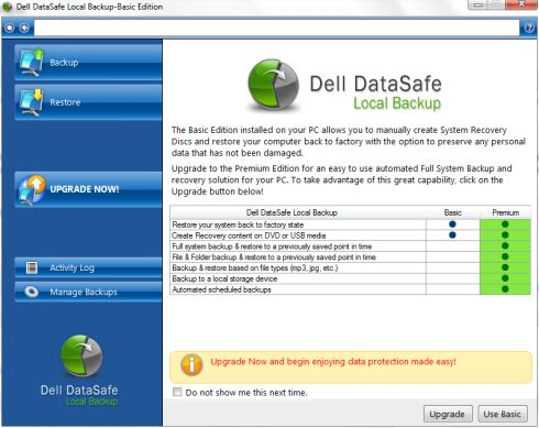 dell datasafe restore and emergency backup