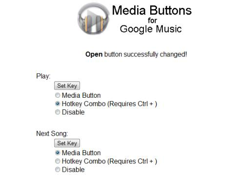 Media Buttons for Google Music