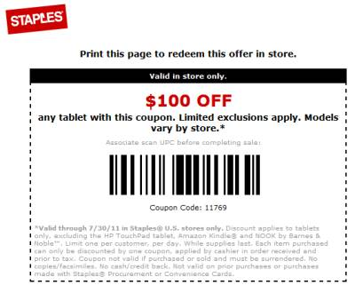 Staples tablet coupon