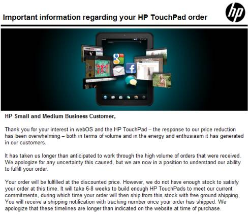 HP TouchPad 6-8 weeks