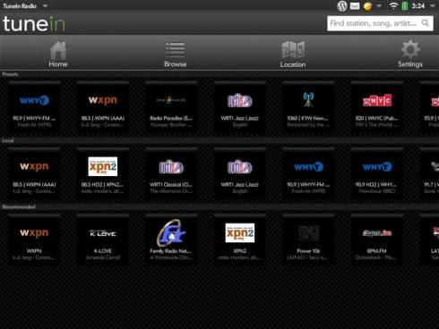 HP TouchPad TuneIn app