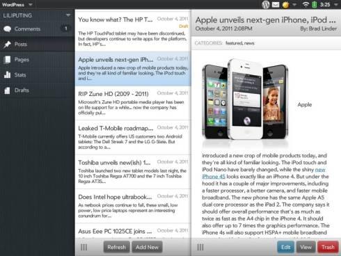 HP TouchPad WordPress app