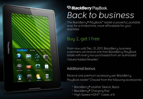 BlackBerry PlayBook buy 2, get 1 free