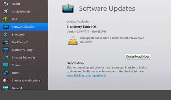 BlackBerry PlayBook OS 2.0.0.7111