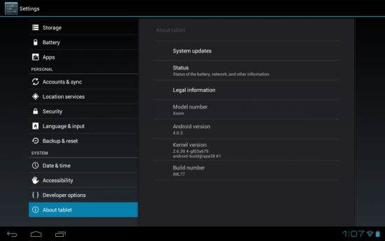 Motorola XOOM with Android 4.0