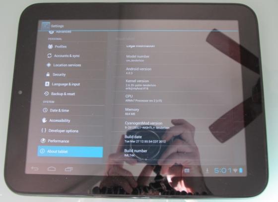 HP TouchPad CyanogenMod 9 nightly