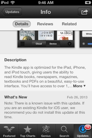 Amazon Kindle iOS bad update