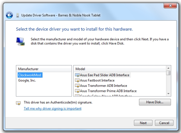 Koush's Universal ADB driver for Windows makes connecting
