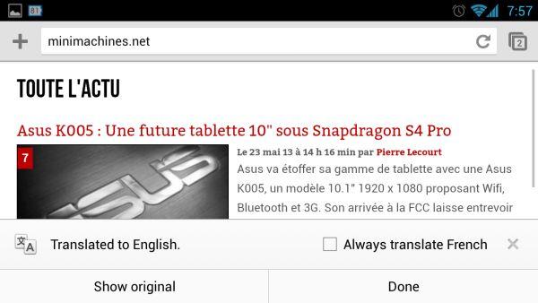 Chrome beta with Google Translate