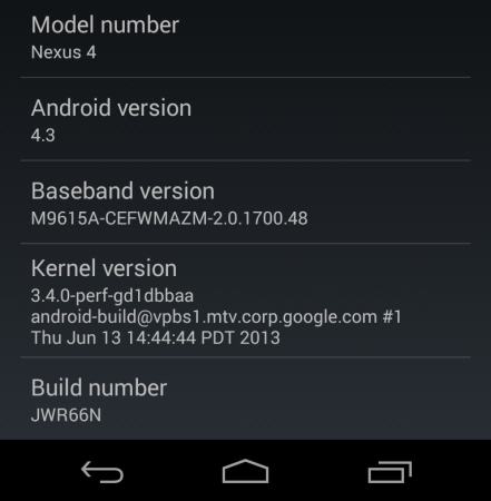 Google Nexus 4 with Android 4.3