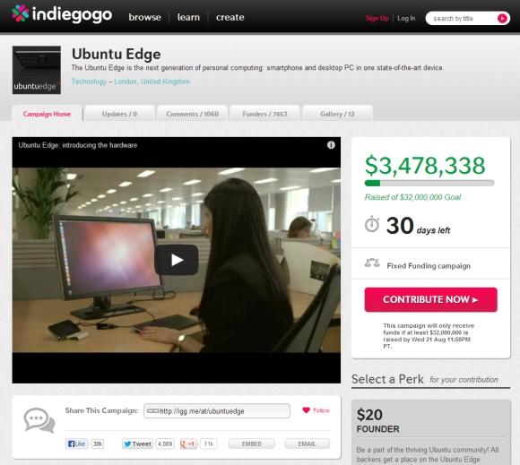Ubuntu Edge at Indiegogo