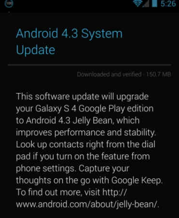 Android 4.3 on the Samsung Galaxy S4