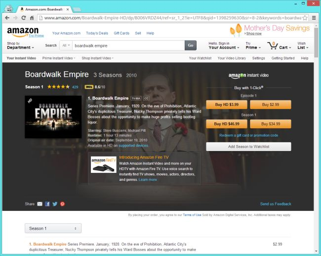 Boardwalk Empire on Amazon