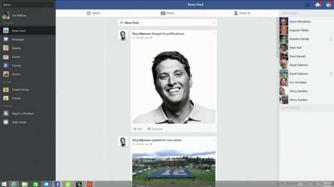 Windows 8.1 facebook update