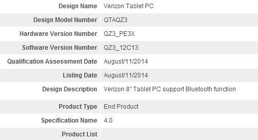 verizon tablet pc