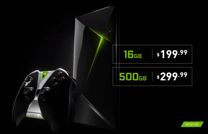 NVIDIA Shield game console with 500GB of storage to cost